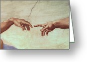 Fresco Greeting Cards - Detail from The Creation of Adam Greeting Card by Michelangelo