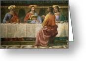 Angelico Greeting Cards - Detail from the Last Supper Greeting Card by Domenico Ghirlandaio