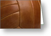 Soccer Greeting Cards - Detail Of A Leather Sports Ball Greeting Card by Tobias Titz
