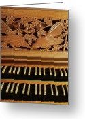 Pipe Photo Greeting Cards - Detail Of A Pipe Organ With A Wooden Carving Greeting Card by Gregor Hohenberg