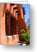 Native Architecture Greeting Cards - Detail of a Pueblo style architecture in Santa Fe Greeting Card by Susanne Van Hulst