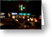 Long Street Photo Greeting Cards - Detail Of A Taxi At Night, New York City, Usa Greeting Card by Frederick Bass