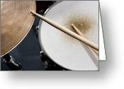 Arts Culture And Entertainment Greeting Cards - Detail Of Drumsticks And A Drum Kit Greeting Card by Antenna