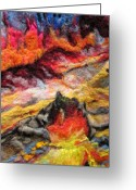 Reds Tapestries - Textiles Greeting Cards - Detail of Fire Greeting Card by Kimberly Simon