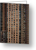 Apartment Greeting Cards - Detail Of High Rise-buildings, Manhattan, New York City, Usa Greeting Card by Frederick Bass