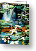 Peaceful Tapestries - Textiles Greeting Cards - Detail of Spring Greeting Card by Kimberly Simon