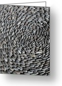 Directly Above Greeting Cards - Detail Of Stones Arranged In A Pattern On The Ground Greeting Card by Marc Volk