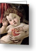 Christ Child Greeting Cards - Detail of the Christ Child from the Madonna of the Pomegranate  Greeting Card by Sandro Botticelli
