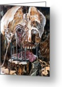 Skull Painting Greeting Cards - Deterioration Of Mind Over Matter Greeting Card by Otto Rapp