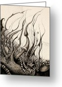Surrealism Drawings Greeting Cards - Determination Greeting Card by Elena Kibraeva