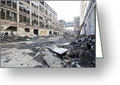 Detroit Rock City Greeting Cards - Detroit Abandoned Buildings Greeting Card by Joe Gee