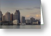 Renaissance Center Greeting Cards - Detroit at dusk Greeting Card by Andreas Freund