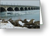 Detroit Photography Greeting Cards - Detroit Belle Isle Bridge Greeting Card by Michael Peychich