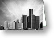 Renaissance Center Greeting Cards - Detroit Black and White Skyline Greeting Card by Alanna Pfeffer