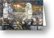 "\""steel Mill\\\"" Greeting Cards - Detroit Industry   North Wall Greeting Card by Diego Rivera"