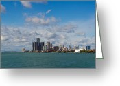 Renaissance Center Greeting Cards - Detroit Michigan Skyline Greeting Card by Twenty Two North Gallery