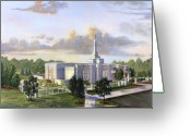 White Clouds Greeting Cards - Detroit Michigan Temple Greeting Card by Jeff Brimley