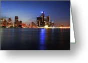 Renaissance Center Greeting Cards - Detroit Skyline 1 Greeting Card by Gordon Dean II