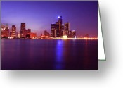 Renaissance Center Greeting Cards - Detroit Skyline 2 Greeting Card by Gordon Dean II