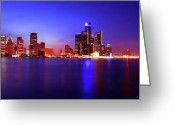 Renaissance Center Greeting Cards - Detroit Skyline 3 Greeting Card by Gordon Dean II