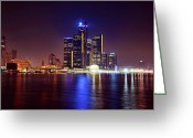 Renaissance Center Greeting Cards - Detroit Skyline 4 Greeting Card by Gordon Dean II