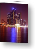 Renaissance Center Greeting Cards - Detroit Skyline 5 Greeting Card by Gordon Dean II