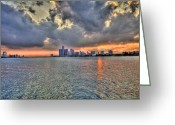 New York New York Com Greeting Cards - Detroit Sunset  Greeting Card by Nicholas  Grunas