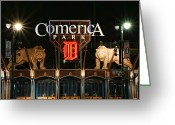 Baseball Game Digital Art Greeting Cards - Detroit Tigers - Comerica Park Greeting Card by Gordon Dean II