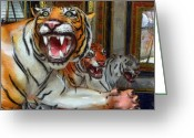 Carosel Greeting Cards - Detroit Tigers Carousel Greeting Card by Michelle Calkins