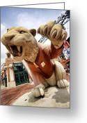 Baseball Game Greeting Cards - Detroit Tigers Tiger statue outside of Comerica Park Detroit Michigan Greeting Card by Gordon Dean II