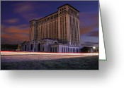 Wetmore Greeting Cards - Detroits Abandoned Michigan Central Station Greeting Card by Gordon Dean II