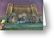 Mgm Greeting Cards - Detroits Abandoned Train Station Greeting Card by Nicholas  Grunas