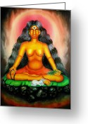 Goddess Posters Greeting Cards - Devi Kali goddess Greeting Card by Sri Mala