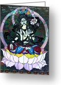 Adoration Greeting Cards - Devi Shakti Goddess Greeting Card by Karon Melillo DeVega