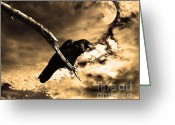 Moons Greeting Cards - Devil In The Clouds Greeting Card by Wingsdomain Art and Photography