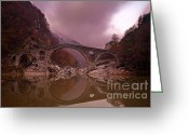 Twilight Greeting Cards - Devils Bridge Greeting Card by Evgeni Dinev