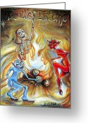 Humanity Greeting Cards - Devils Inferno Greeting Card by Heather Calderon