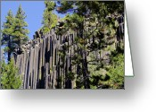 Dark Gray Blue Greeting Cards - Devils Postpile - Americas Volcanic Past Greeting Card by Christine Till