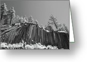 Dark Gray Blue Greeting Cards - Devils Postpile - Frozen columns of lava Greeting Card by Christine Till