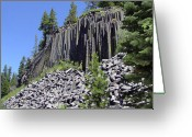 Dark Gray Blue Greeting Cards - Devils Postpile - Natures Masterpiece Greeting Card by Christine Till