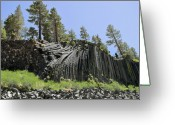 Dark Gray Blue Greeting Cards - Devils Postpile - Talk about natural wonders Greeting Card by Christine Till