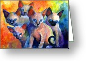 Contemporary Drawings Greeting Cards - Devon Rex kittens Greeting Card by Svetlana Novikova