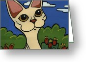 Whiskers Greeting Cards - Devon Rex Greeting Card by Leanne Wilkes