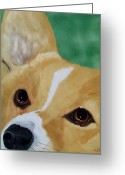 Devotion Greeting Cards - Devotion-Corgi Eyes of Love Greeting Card by Debbie LaFrance