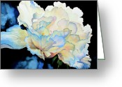 Flower Still Life Prints Painting Greeting Cards - Dew Drops on Peony Greeting Card by Hanne Lore Koehler