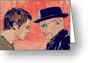 White Drawings Greeting Cards - Dexter and Walter Greeting Card by Giuseppe Cristiano