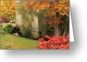 Historic Site Greeting Cards - Dexter Grist Mill Autumn Greeting Card by John Burk