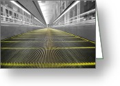 Travelpixpro Greeting Cards - DFW Airport Walkway Perspective Color Splash Black and White Greeting Card by Shawn OBrien