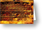 Commission Photo Greeting Cards - Dharma inscription in Sarnath Greeting Card by Lee-Ann Adendorff