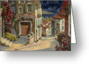 Dark Greeting Cards - Di Notte Al Mare Greeting Card by Guido Borelli